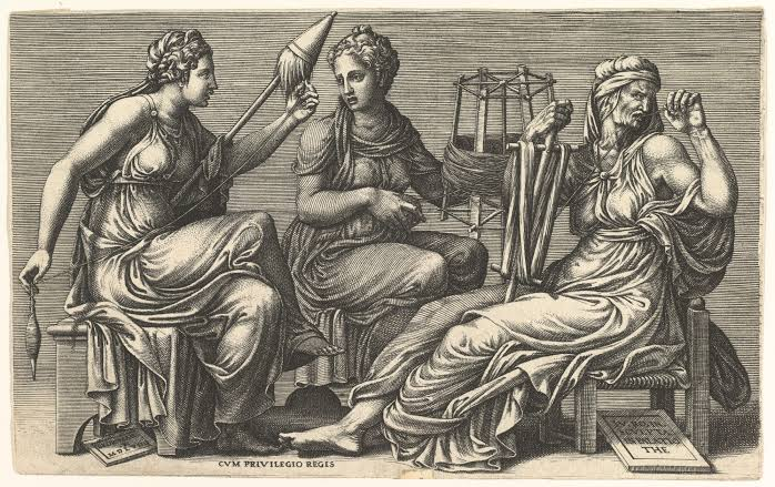The Three Fates Clotho, Lachesis, and Atropos